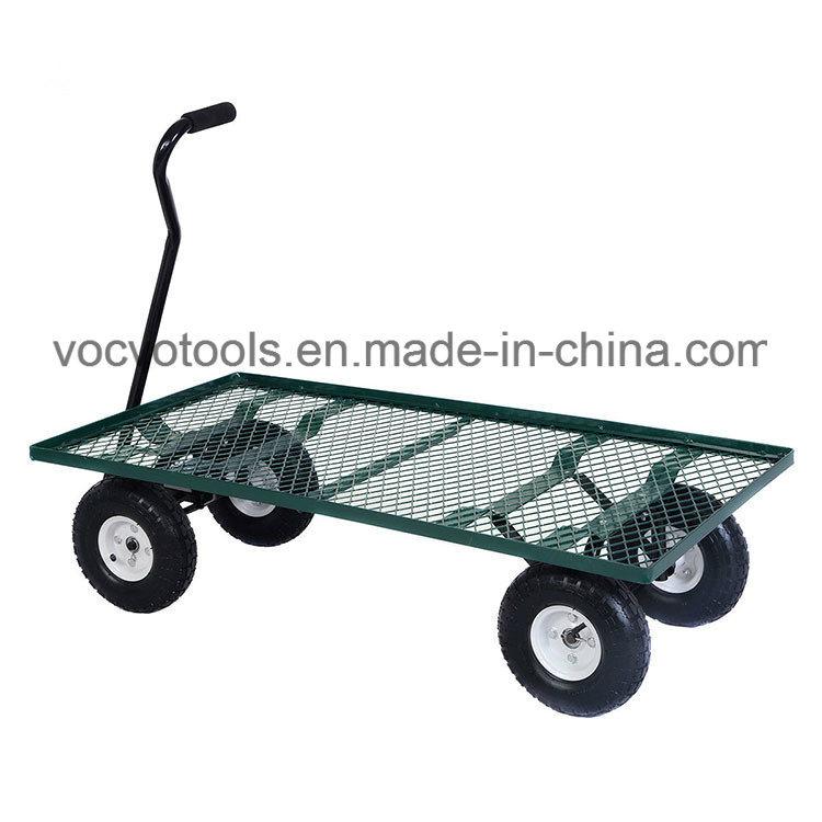 250kg Load Capacity Four Wheels Stainless Steel Mesh Garden Tool Cart