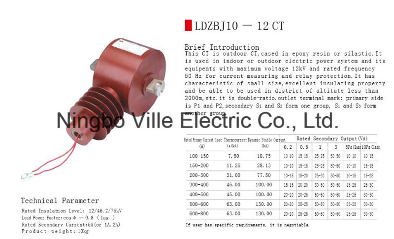 Outdoor Epoxy Resin Cast or Silica Gel Die-Casting Current Transformer Instrument Transformer