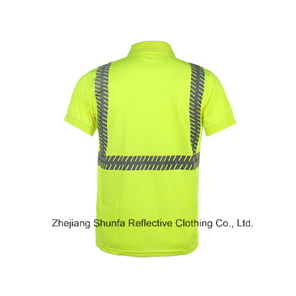 High Visibility 100% Polyester Birdeyes Safety Reflective Polo T Shirt