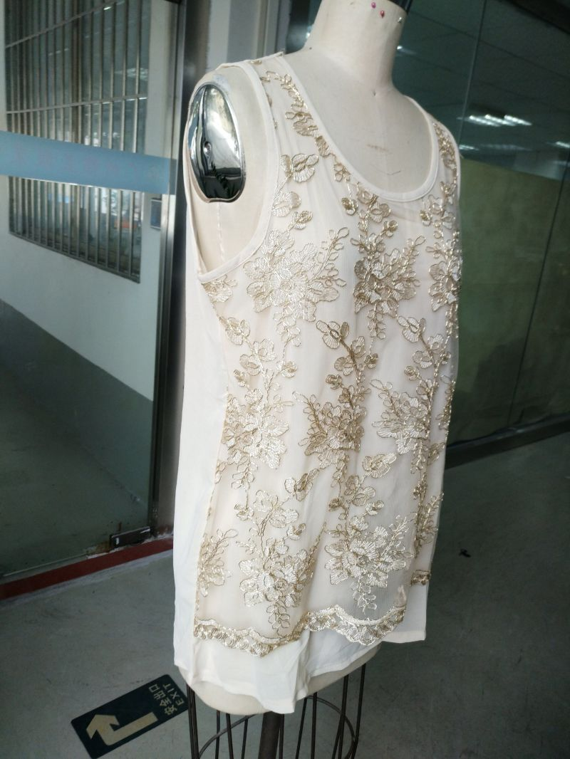 Summer Fashion Gold Thread Embroidery Flower Women's Vest
