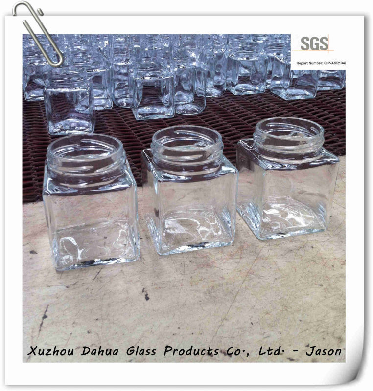 200ml Square Glass Jar with Tin Lid