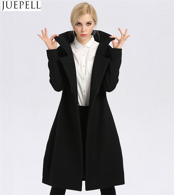 New Women Long Section Thick Wool Coat Factory Fashion Models Double-Breasted Women Polyester Coat