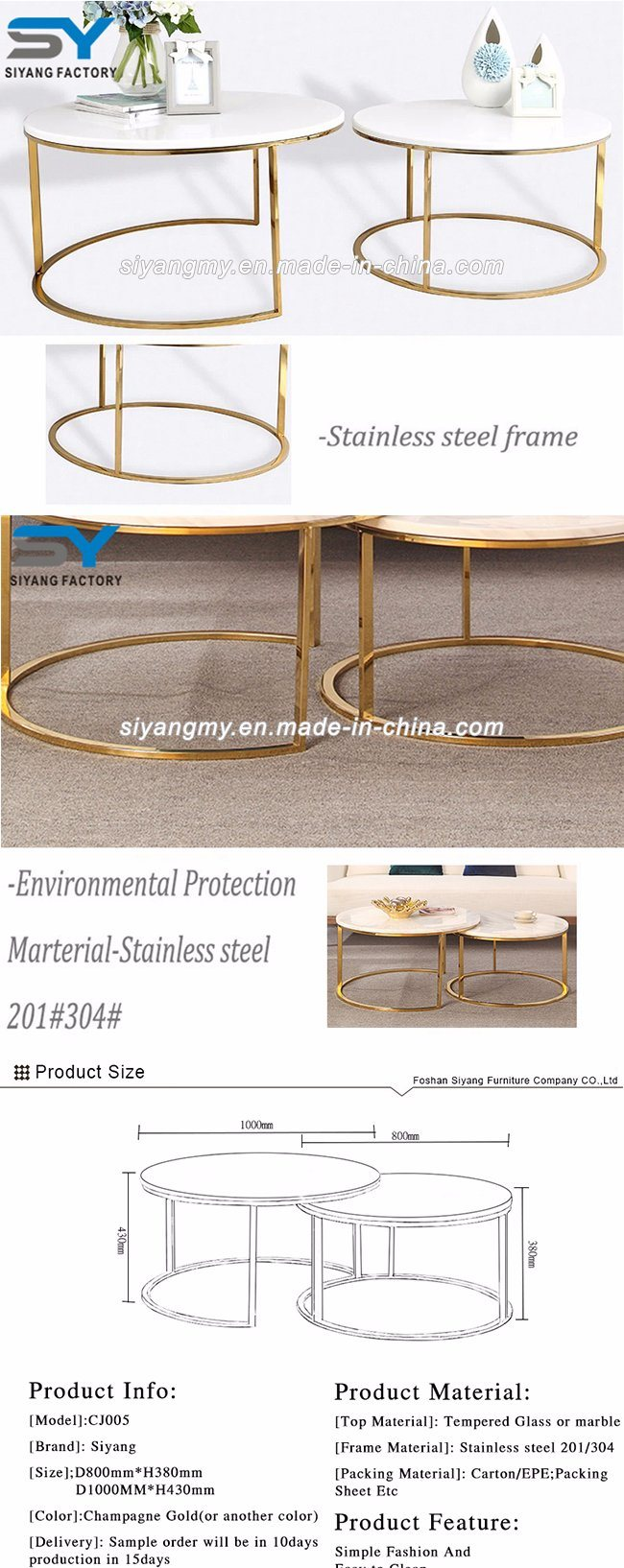 Hotel Furniture Two Layer Marble Table Modern Coffee Table