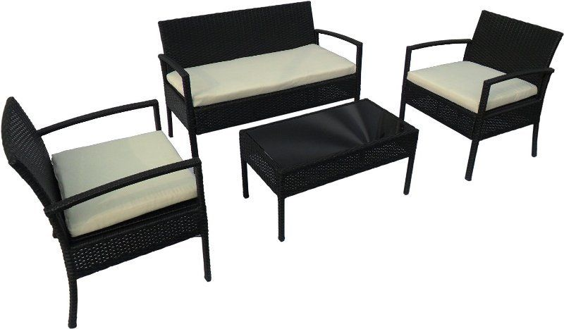 4 Pieces Black Outdoor Wicker Leisure Coffee Table Set