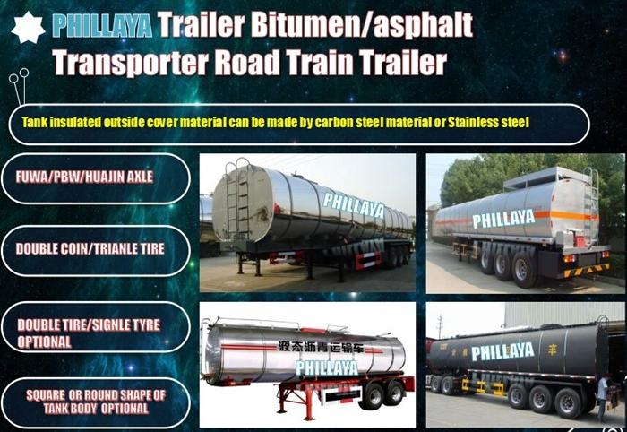 3 Axles 27m3- 57m3 Bitumen Tanker Semi Trailer/Asphalt Tank