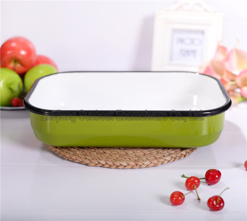 Sunboat Kitchenware/ Kitchen Appliance Rectangular Pie Dish Enamel Dinnerware Plate (Set)