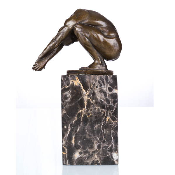 Naked Male Deco Nude Player Art Craft Bronze Statue TPE-719