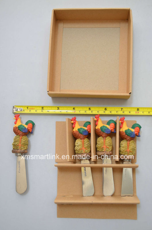 Poly Resin Farm Rooster Handle Butter Spreader