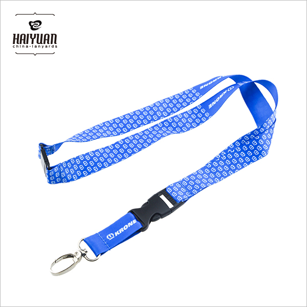 Cheap Light Blue Silk Screen Crown Fancy Printing Lanyards for Business Card Holder