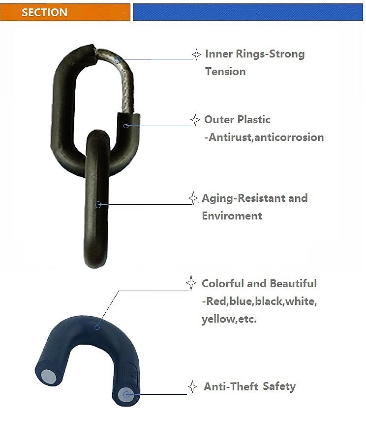 Plastic Coated Galvanized Link Chain for Decoration