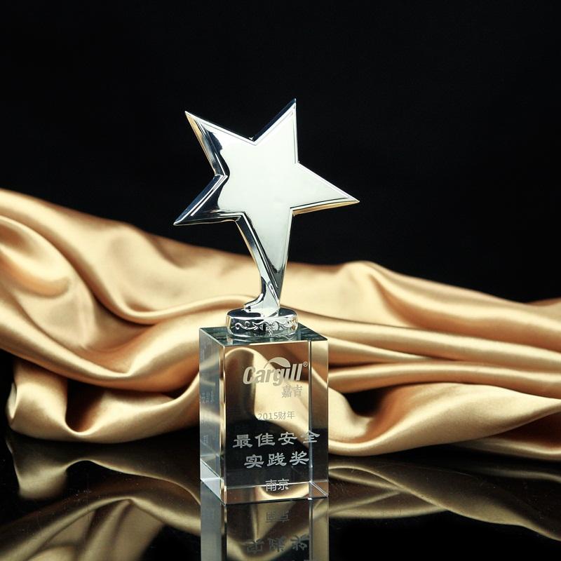 Metal Star Trophy Crystal Craft Awards Glass Trophy