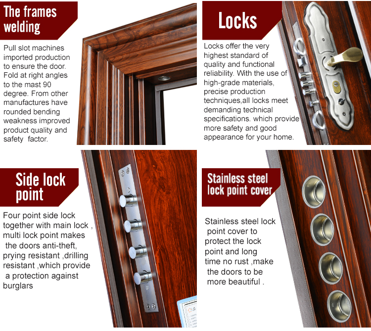 TPS-057 Safety Metal Wrought Iron Front Double Door Designs Exterior