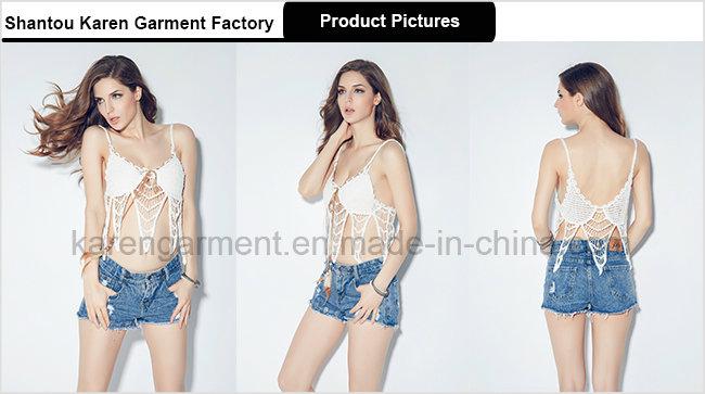 100% Cotton Feather Tie Tassel Bikini Bra