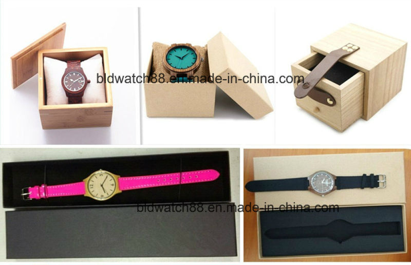 Custom Handmade Bamboo Wood Watch with Leather Strap