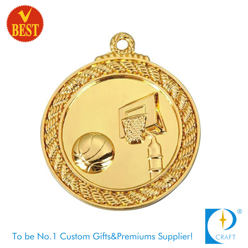 China New Design Customized Zinc Alloy Gold Plating 3D Basketball Medal in High Quality