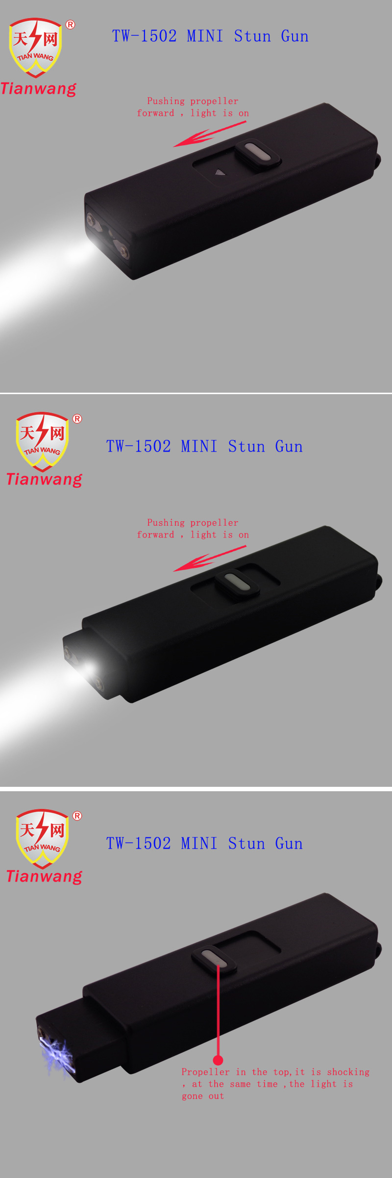 Miniature Stun Guns with Flashlight Cheap (TW-1502)
