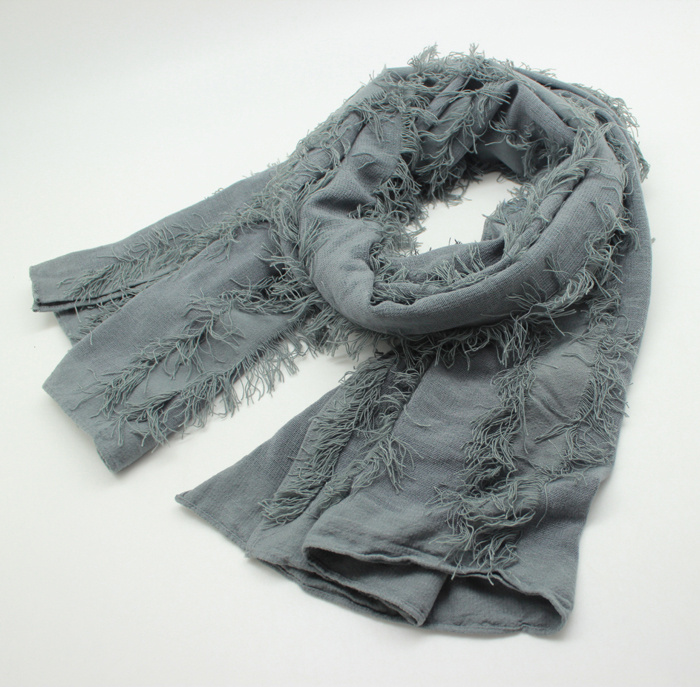 Lady Fashion Plain Color Viscose Acrylic Knitted Spring Scarf (YKY1159)