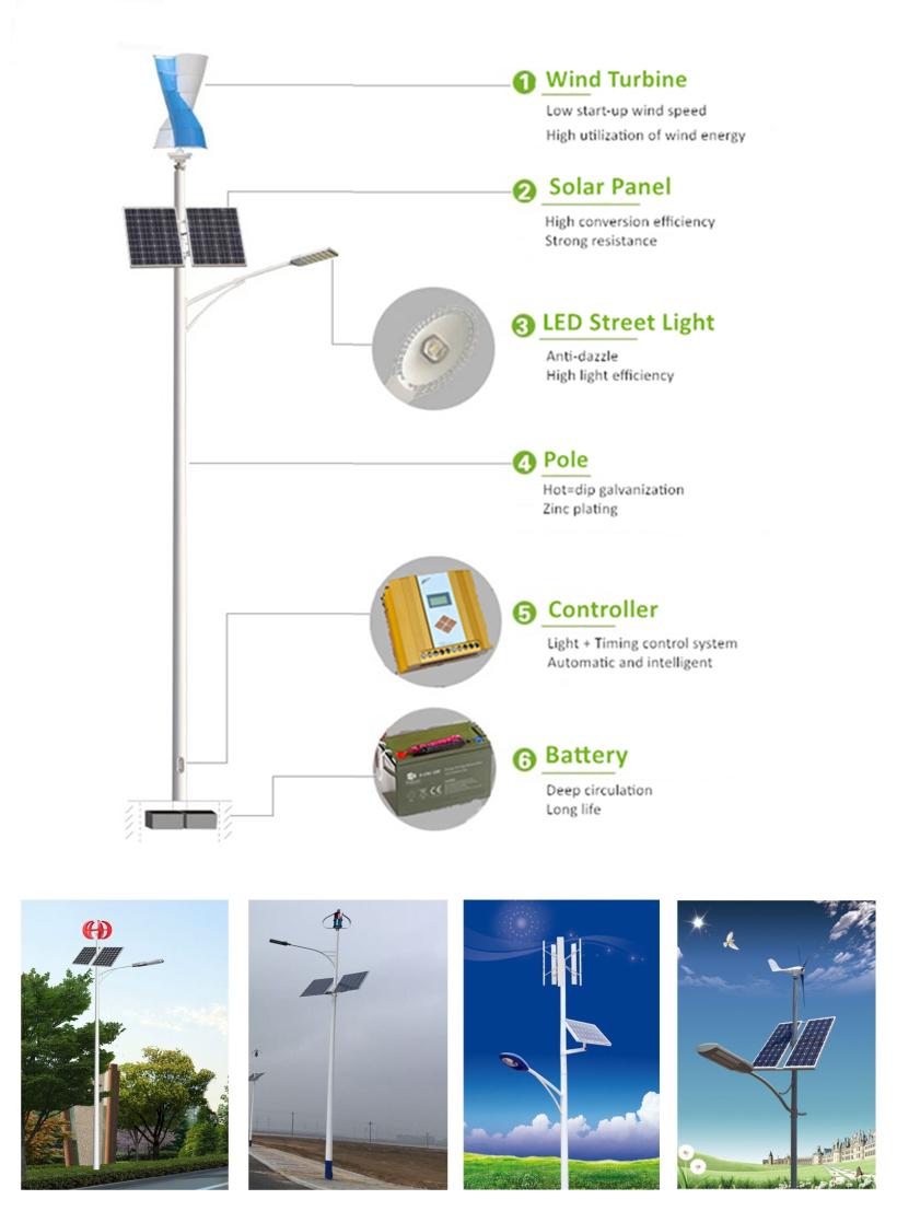 Delight 10m Vertical Wind Solar Energy Saving Street Light