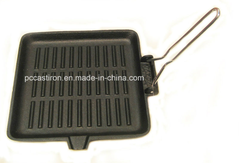 Square Preseasoned Cast Iron Skillet Size 24X24cm