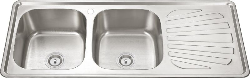 12050 Stainless Steel Double Bowl with Plate Kitchen Sink