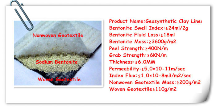 Pond Lake Landfill Sodium Bentomat Gcl Geosynthetic Clay Liner (3000-7000G/M2)