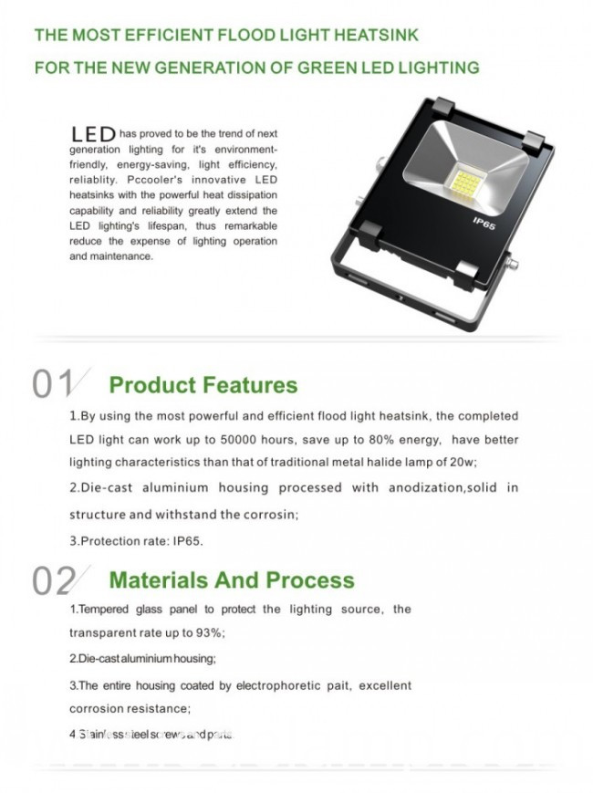 Black Color Slim 10W Outdoor High Power LED Projector Lamp