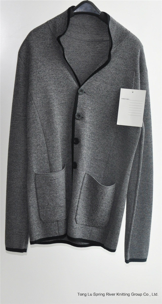 Men 100%Wool Winter Knitted Cardigan with Button and Pocket