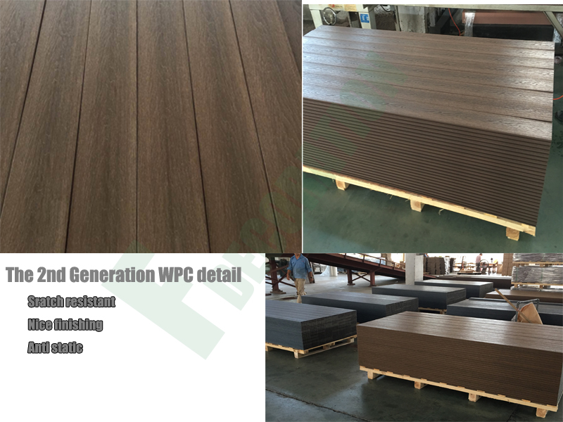 Wood Grain Outdoor Co-Extrusion Wood Plastic Composite WPC Flooring Decking