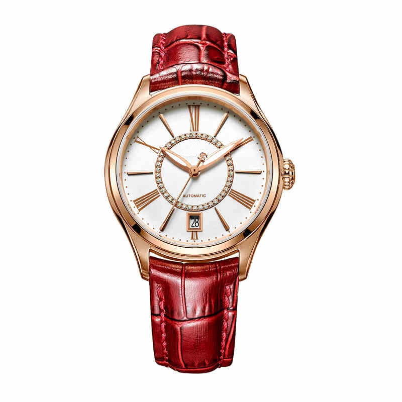 Stainless Steel Ladies Mechanical Watch Full Automatic Movment Genuine Leather Strap