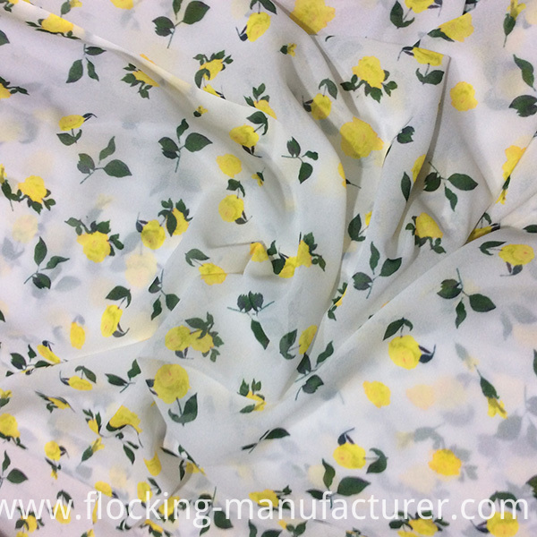 Yellow Rose Digital Printing Chiffon Garment Fabric