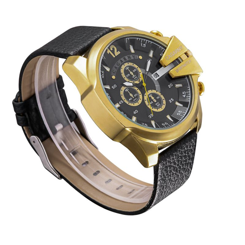 6839gold Case Ipg Plated Big Dial Sports Watch 3eyes Pushers, Multi-Function Quartz Sports Watch for Men