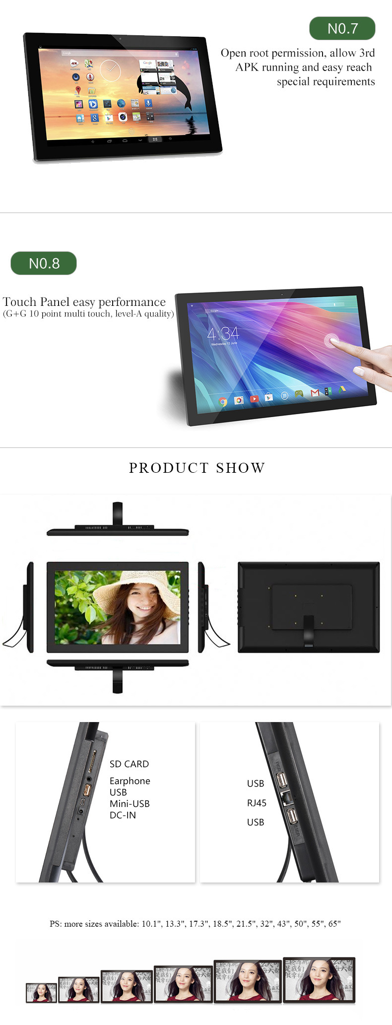 Wall Mounted Digital Kiosk 18 Inch Android Tablet with Vesa Mounting
