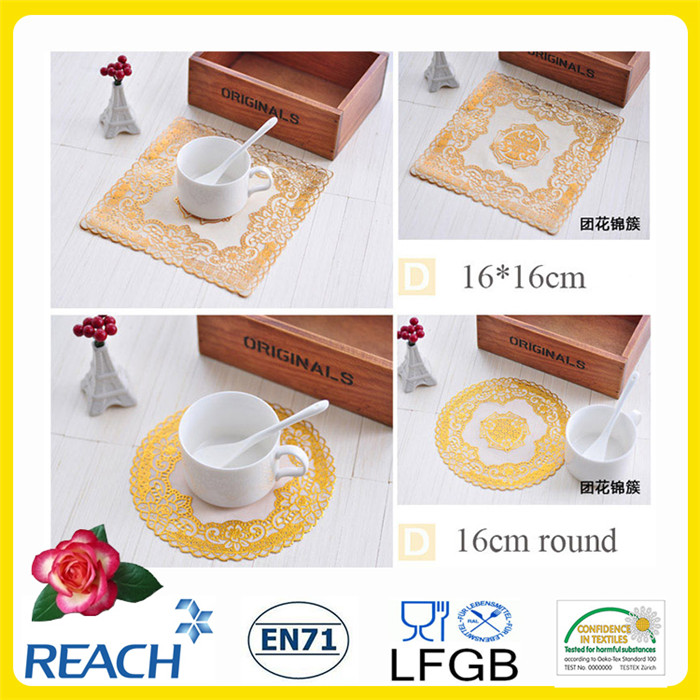 PVC Gold/Silver Lace Coaster