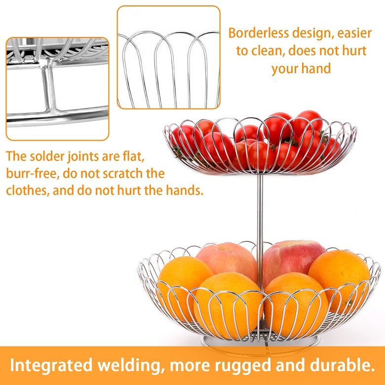 Креативная корзина для фруктов из нержавеющей стали для двухслойной домашней корзины для фруктов