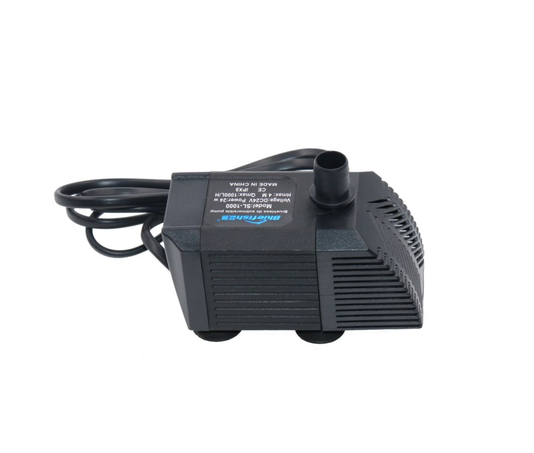 DC 24V Flow 1000L/H High Efficiency Fish Pond Submersible Sea Water Pumps