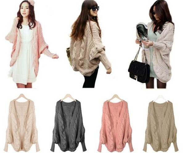 Fashion Style Plus Size Bat Sleeve Knitted Wool Cardigan (66180)