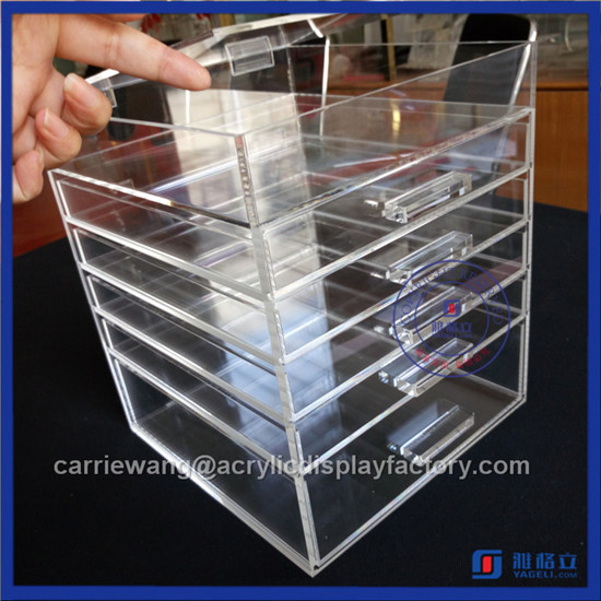 2016 Fashionable Pink Acrylic Makeup Organizer with 5 Drawers Supplier with Crystal Knobs