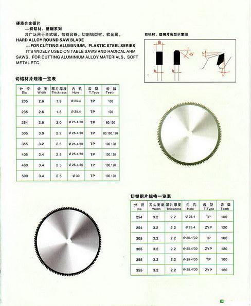 Hard Alloy Round Saw Blade Fir Cutting Aluminium, Plastic Steel Series