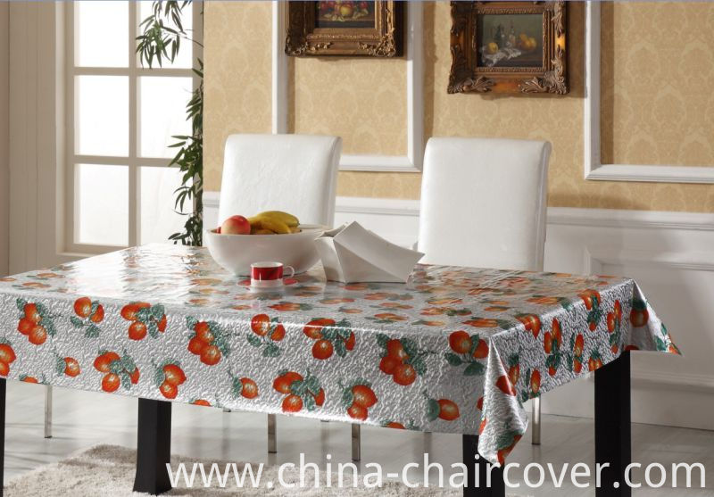 Vinyl Printed Tablecloth with Double Side Embossed Grain