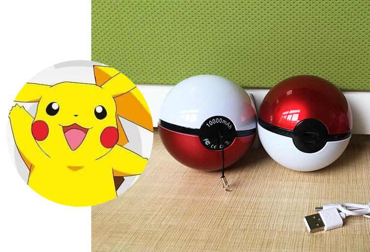 Upgrated Version Pokemon Portable Magic Ball 10000mAh Power Bank Charger LED Lighting