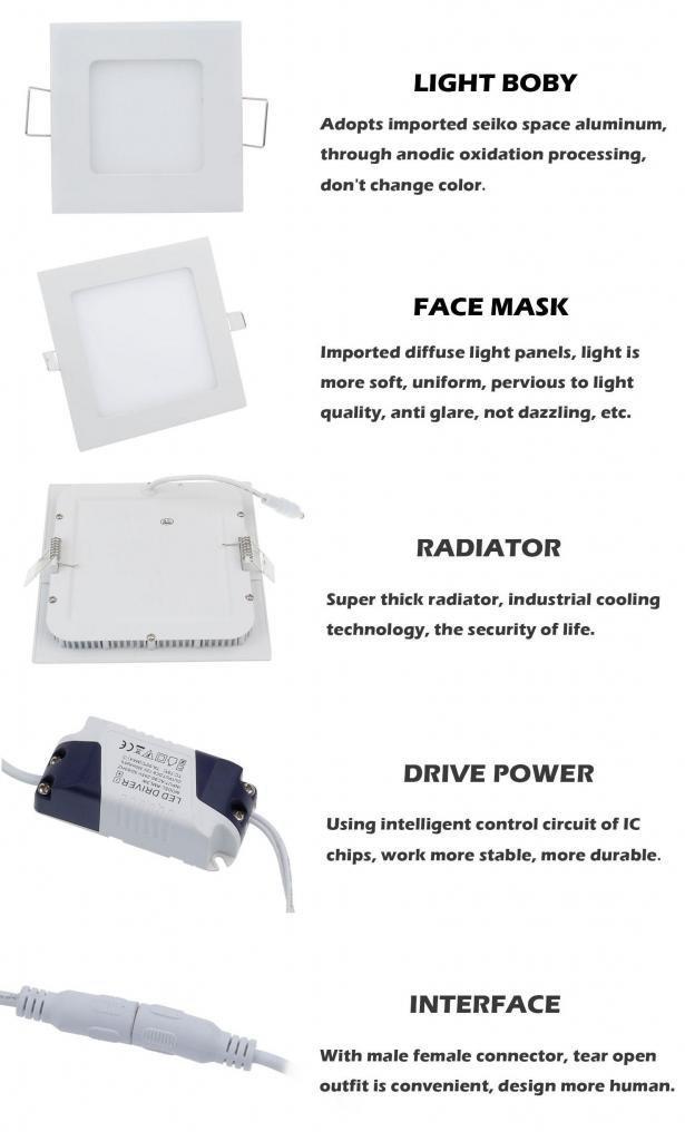 3/4/6/9/12/15/18/24W 85-265V LED Slim Panel Light