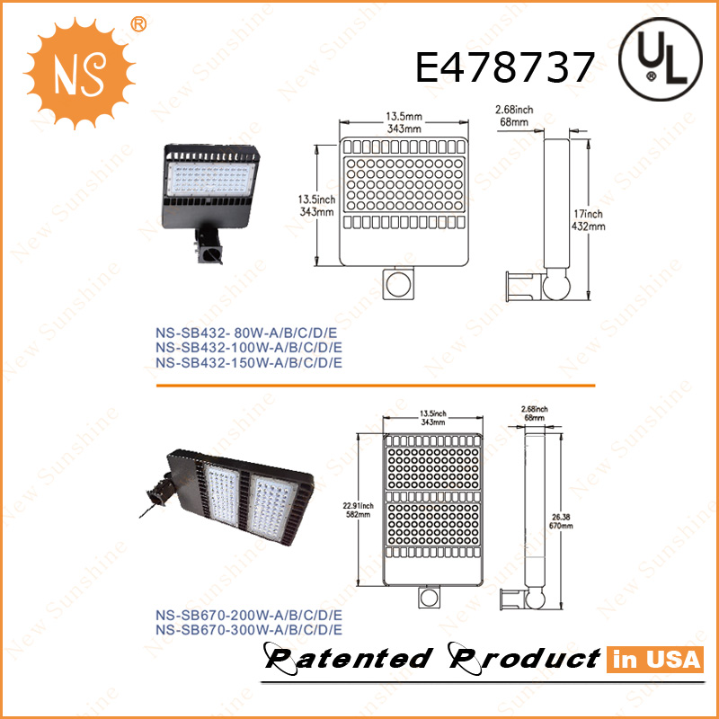 UL Dlc Listed IP65 Outdoor 22000lm 200W LED Area Parking Lights