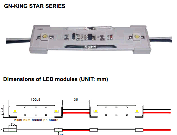 2LED Channel Letter Module with King Star (GN-CLM-KS)