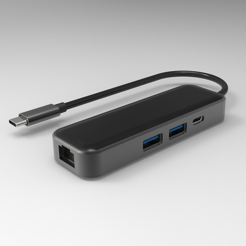 New Design Multi Port Type-C USB-C Hub USB3.0*2/RJ45 (1000Mbps) /Pd 60W Charging
