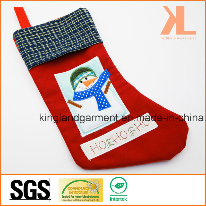 Quality Embroidery/Applique Christmas Decoration Snowman in Window Stocking