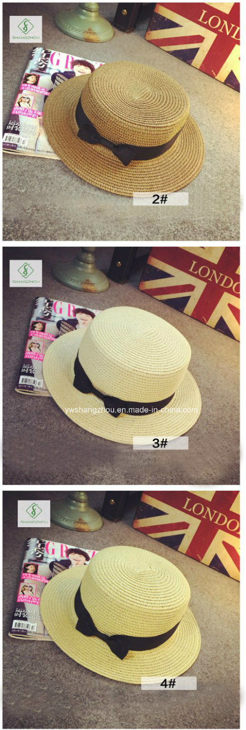 2017 New Design Fedora Paper Straw Hats with Ribbon for Summer