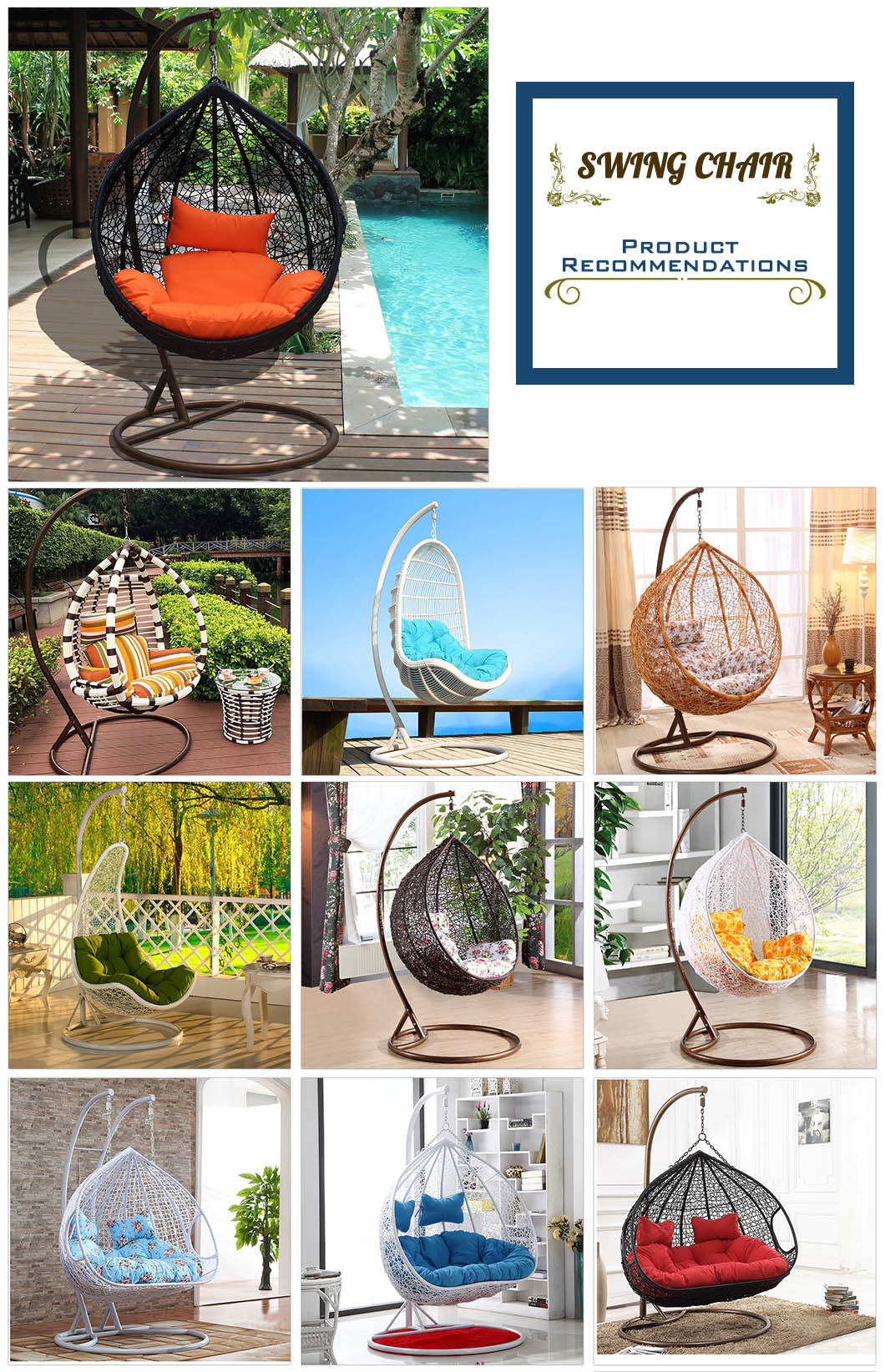 Hot Modern Leisure Home Hotel Office Metal Wicker Round Rattan Hanging Chair (J829)