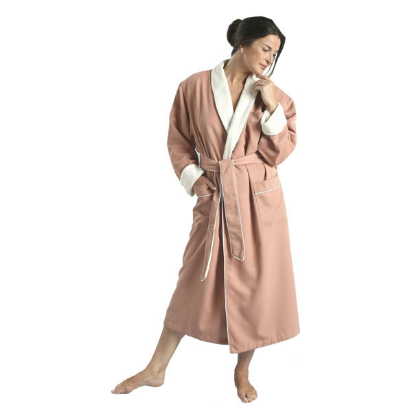 Lined Peached Microfiber Fabric with Inner Terry Shawl Bathrobe