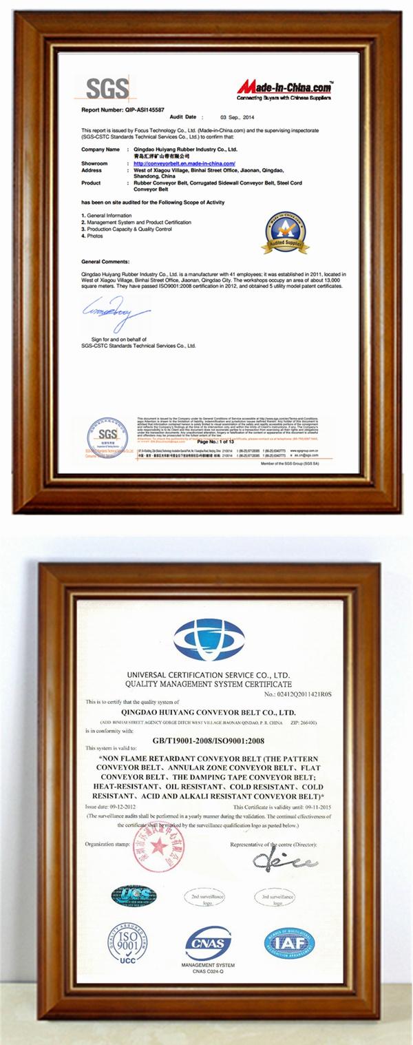 ISO9001 Chevron Pattern Conveyor Belt