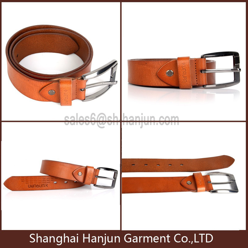 Newest Top Quality Genuine Grain Leather Belt with Pin Buckle